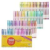 Shuttle Art 160 colours Glitter Gel Pens Set, 220% Ink Gel Pen