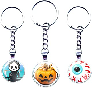 Amosfun Halloween Keychains Set Pumpkin Key Ring Skull Keychain Eyeball Decor Key Pendant for Key Bag Phone Charm 3Pcs