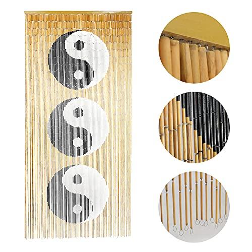 TACHILC Ying Yang Bamboo Bead Curtain, Doorway Hanging Beads, Bamboo Door Beads 35.5 inches x 78 inches, 90 Strands