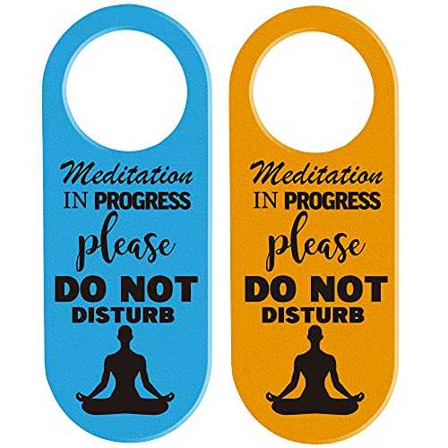 Meditation in Progress, Do Not Disturb Door Hanger Sign, 2 Pack, Double Sided, Ideal for Yoga Pilates Exercise Class