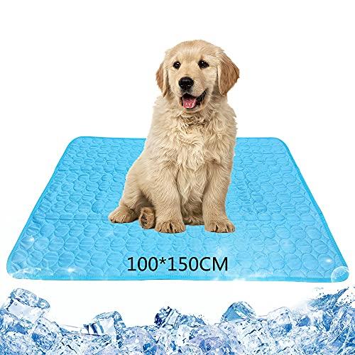 Kühlmatte für Hunde XXL(150*100 cm) Katzen Pet Cooling Mat Haustier kühlmatte Hund Auto kühldecke Bett Ungiftig Tragbar Faltbar Waschbar Bequemes Haustier Matte im Heißen Sommer (150*100CM)