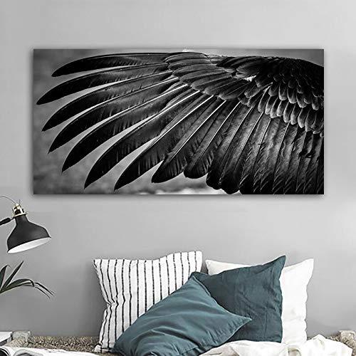 Tierflügel Schwarz-Weiß-Malerei Plakate und Drucke Moderne Leinwand Kunst Wandkunst Bild Schlafzimmer Wohnzimmer Rahmenlose Malerei 40cmX80cm