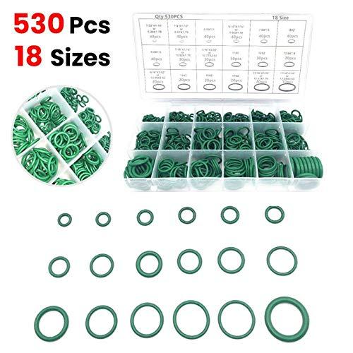 Filtro de combustible 530 unids Aire acondicionado Conjuntos de anillos de refrigerante Caucho O Anillo Lavadora Seal Surtido Conjunto Juego Juego Junta HNBR A/C Sistema Verde