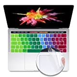 i-Buy Français Clavier Coque de Protection / Couverture AZERTY pour MacBook Pro 13' avec Touch Bar & ID + Protecteur de pavé tactile - Arc en ciel