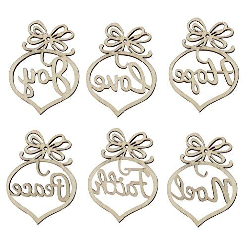 Décorations de Noël,Fulltime®6pcs ornement en bois d'arbre de Noël accrochage Tags pendentif Decor