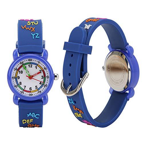 Reloj de pulsera, diseños impermeables Material ecológico Reloj digital de larga duración, para regalos de(Alphabet plastic shell blue)