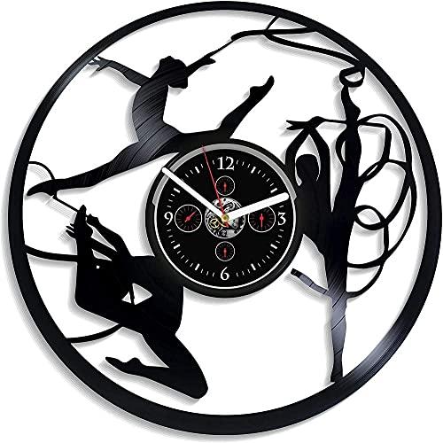 ZZLLL Bailarina Tema Personalizado Gimnasia Arte Vinilo Reloj de Pared Creativo diseño Moderno decoración del hogar año Nuevo y Navidad