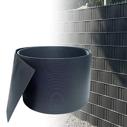 HENGMEI 10 Stück Sichtschutzstreifen Hart PVC 19cm x 2.5m Sichtschutz Zaunfolie Blickdicht für Gartenzaun, Balkon, Anthrazit