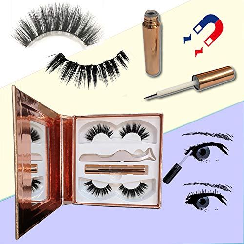 Eyeliner Magnétique Et Kit De Cils, Cils en Vison Doux Réutilisables Naturels 3D, Eye-Liner Liquide Magnétique Imperméable à l'eau avec des Pincettes Gratuites,1
