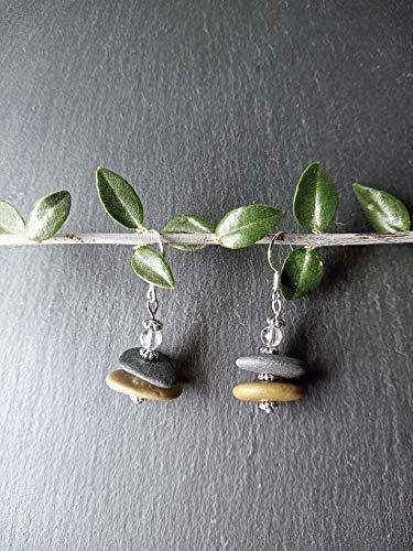 Pendientes con piedras del Mediterráneo y cuarzo, Pendientes de acero, Regalo mujer, estilo Boho chic, Pendientes originales
