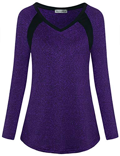 MISS FORTUNE Long Sleeve Workout Tee Tops for Women V Neck Women's Yoga Tops Loose Fitting Athletic Shirt Purple X-Large