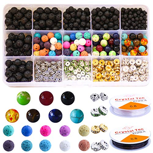 Colle 600Pcs Lava Stone Beads Chakra Gemstone Beads DIY Beads Jewelry Making Set Bulk Black Lava Rock Stone for Bracelet Necklace with Storage Box and Elastic Crystal String