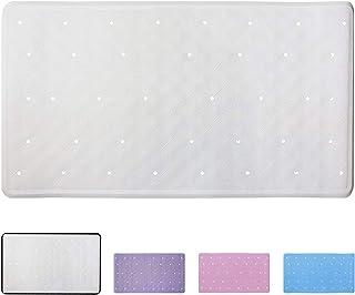 ANSIO Alfombra de baño Antideslizante Antideslizante Alfombra de Ducha de Caucho 40 x 70 cm / 15.8 x 27.7 Pulgadas - Blanco