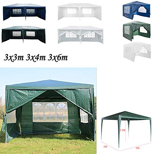 AutoBaBa 3x3m Gazebo Outdoor Party Commercial Tent Marquee Canopy Awning for Party Wedding Camping With Zip Up Side Panel, Waterproof (Green)