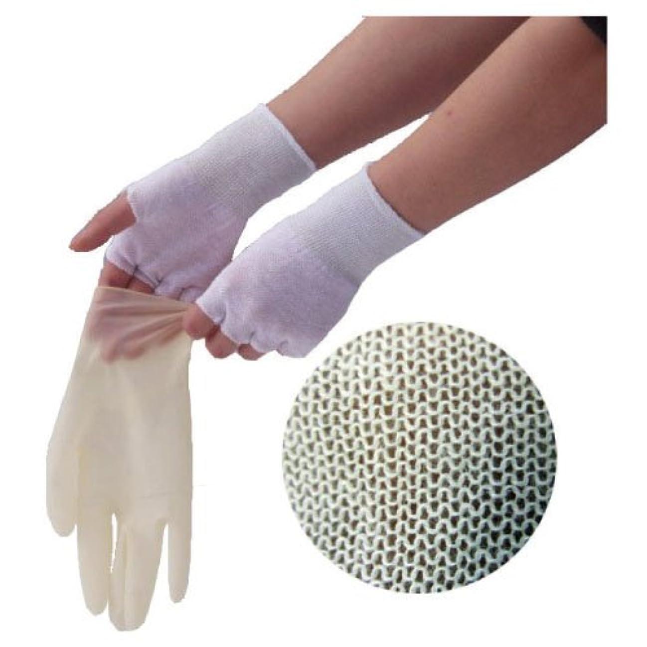 コットン同性愛者ひらめきやさしインナー手袋(指なし) GI01 フリー 材質:コットン