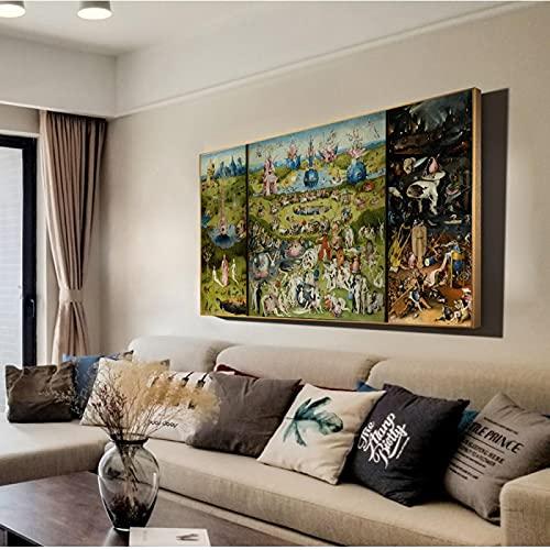 Il Giardino delle Delizie Riproduzioni Di Quadri Su Tela Di Bosch Hieronymus Classica Arte Della Parete Per La Decorazione Domestica 60x120cm(24x47inch) Senza Cornice