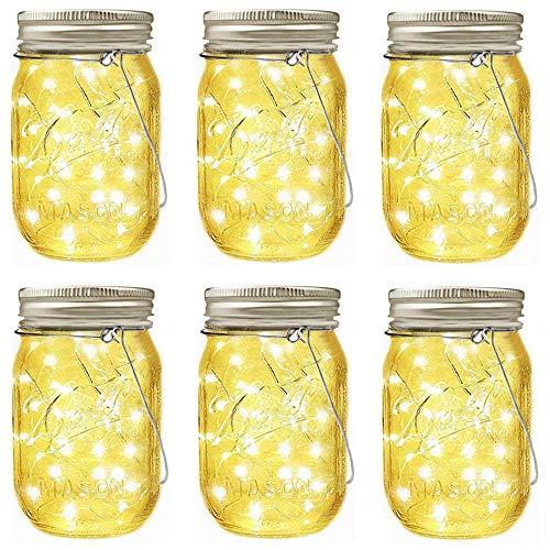 Paquete de 8 Luces solares para Tapa de Frasco, 20 Luces LED para Tarro de Bomberos, 8 Perchas Incluidas (tarros no incluidos), decoración de Tarro de masón, Patio, decoración de Boda (Blanco cálido)
