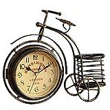 Reloj de mesa vintage en forma de bicicleta de metal, reloj despertador con cesta, decoración de mesa, regalo para casa, decoración de cumpleaños, 26 x 7,8 x 23,5 cm