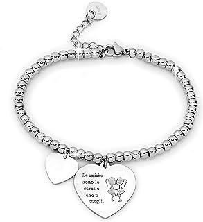 Beloved Bracciale da donna, braccialetto in acciaio emozionale - frasi, pensieri, parole con charms - ciondolo pendente - ...