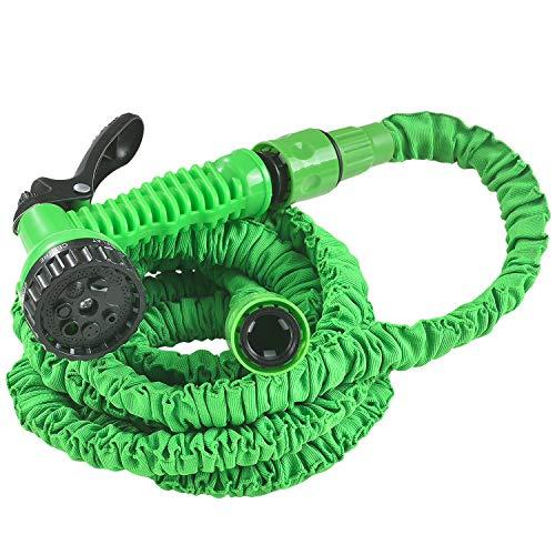 Juskys Flexibler Gartenschlauch Aqua - Wasserschlauch flexibel dehnbar bis 7,5 m – Flexischlauch knickfest mit 7-Funktions-Handbrause & Adapter – Grün