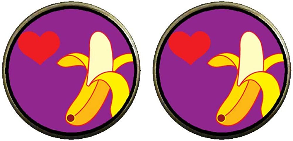GiftJewelryShop Bronze Retro Style Heart Banana Photo Clip On Earrings 14mm Diameter