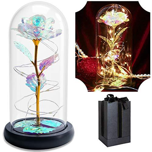 Yuanj Ewige Rose im Glas Geschenk Kit, Bunte Gold Rosen mit LED Licht & Geschenkbox, für Hauptdekor, Nie Verwelkte Rose Romantische Valentinstag, Muttertag, Weihnachtstag, Geburtstag Geschenke für Sie