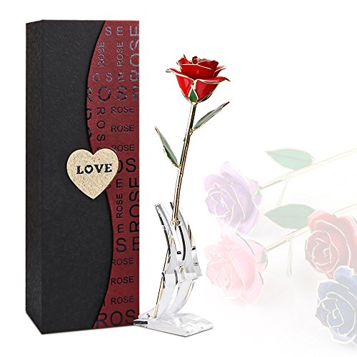Rosa oro 24K plateó la flor de Rose con la caja exquisita del soporte transparente regalo para el día de tarjeta del día de San Valentín El cumpleaños de la Navidad del día de madre (Rojo + Soporte)