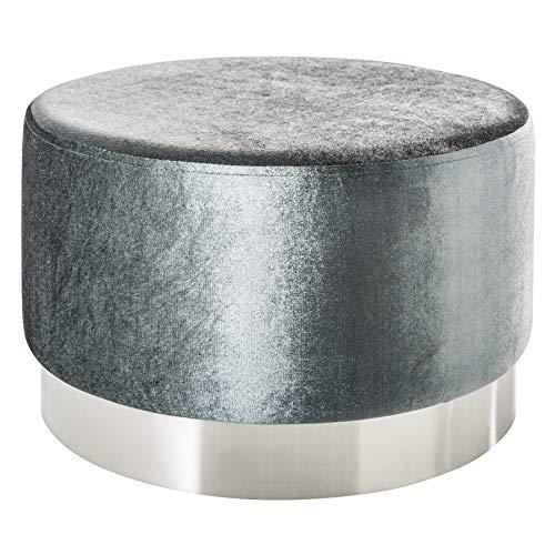 Riess Ambiente Eleganter Couchtisch MODERN BAROCK Samt Silber Hocker Sitzhocker Fußhocker Tisch Wohnzimmertisch Samtbezug Samtstoff