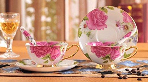 TouchLife Juego de tazas de té con platillo hechas de porce