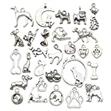 Sailanzi 100g(80pcs) Wholesale Bulk Lots Antique Silver Animals Cat Dog Pet Charms Pendants for Jewelry Making Crafting Findings Accessory for DIY Necklace Bracelet Earrings SM293