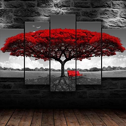 AWER Tejido no Tejido Impresión Röd stor trädnaturaffisch Canvas Wall Art,Decoracion de Pared,5 Piezas Lienzos Cuadros Pinturas,Cuadro sobre Lienzo,Listo para Colgar,en un Marco