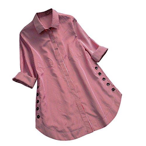 Blusa de Mujer Sexy Covermason Camisa de Manga Larga de Las Mujeres del botón del Enrejado de la Camisa de Las Tapas Ocasionales Flojas Blusa del tamaño Extra Grande(XL, Red)