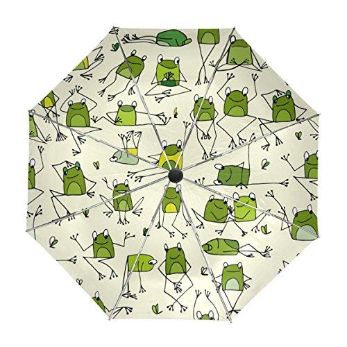 MyDaily Reise-Regenschirm mit Frosch-Motiv, automatischer Öffnung, UV-Schutz, Winddicht, leicht
