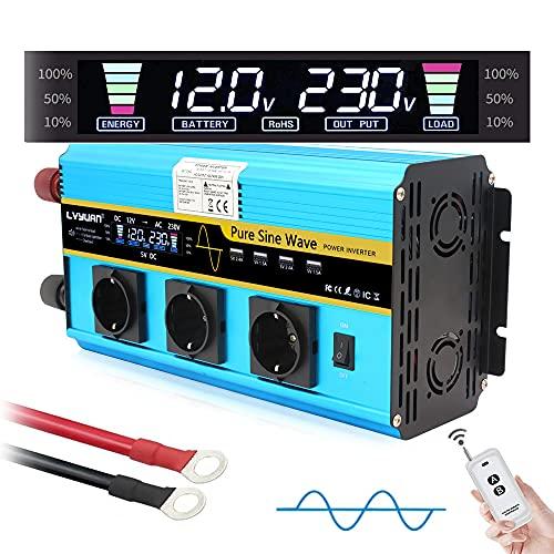 Yinleader Wechselrichter 3000W / 6000W Reiner Sinus-Spannungswandler 12V 230V mit 3 europäischen Steckdosen und 4 USB-Anschlüssen LCD-Display