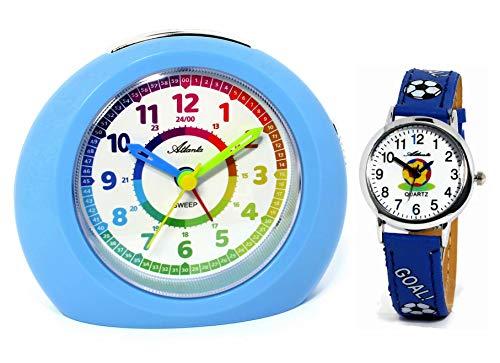 Despertador infantil sin tic-tac, con reloj de pulsera, diseño de fútbol, color azul, 1967-5 KAU