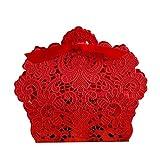 PONATIA 50 PCS Taglio a laser con il favore del partito di nozze del nastro, borse per regali di nozze Caramelle al cioccolato e scatole regalo (rosso)