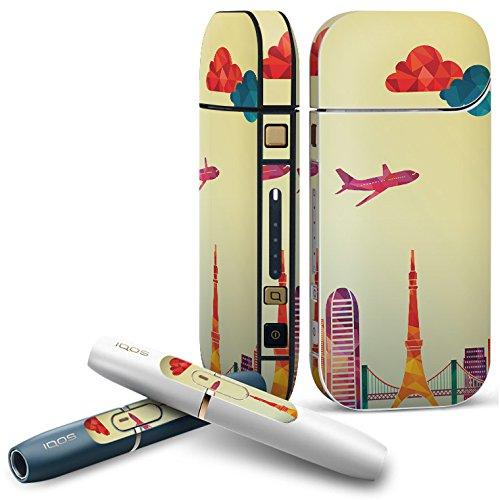 IQOS 2.4 plus 専用スキンシール COMPLETE アイコス 全面セット サイド ボタン デコ 風景 気球 飛行機 010494