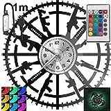 Arma RGB LED Pilot reloj de pared para mando a distancia, disco de vinilo, moderno decorativo para regalo de cumpleaños