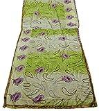 PEEGLI Indian Vintage Saree Grün Wickelkleid Gedruckt