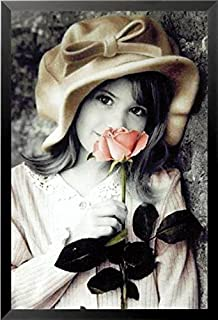 Buyartforless Work Framed Girl with Rose by Kim Anderson 36x24 Art Print Poster Photograph Cute Kids with Flowers Romantic Romance, Black & White