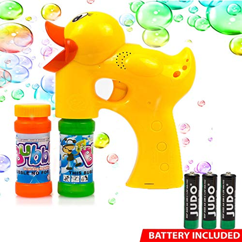 Toysery Bubble Shooter Gun Toy – Duck Design Leak-Resistant Automatic Bubble Maker Machine with LED Lights and Music, Lightweight Easy to Refill, Summer time Outdoor Fun Toy for Kids Boys and Girls