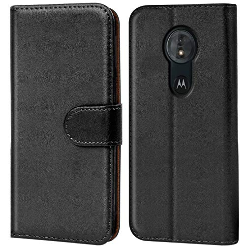 Verco Moto G6 Play Hülle, Handyhülle für Motorola Moto G6 Play Tasche PU Leder Flip Hülle Brieftasche - Schwarz