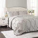 Lush Decor Light Gray Comforter Ruffled 3 Piece Set with Pillow Shams-Full Queen