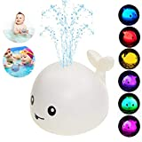 Baby Bath Toys,Whale Bath Toys for Toddlers Auto Water Spray Toy with LED Light,Induction Shines Sprinkler Fountain Baby Shower Bathtub Toy Squirt Water Toy,Ideal Gifts for Boys Girls (White)