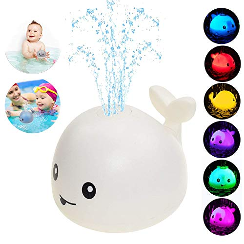 Baby Bath Toys,Whale Bath Toys for Toddlers Auto Water Spray Toy with LED Light,Induction Shines Sprinkler Fountain Baby Shower Bathtub Toy Squirt Water Toy,Ideal Gifts for Boys Girls … (White)
