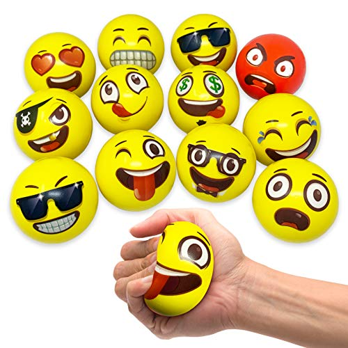 Oji-Moji Party Pack 12 Emoji Stress Balls, Stocking Stuffers for Kids,, Stress Relief, Fidget Kids...