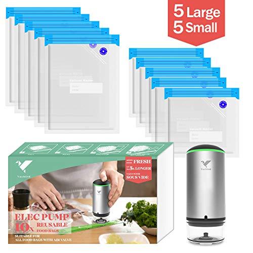 Vacbird Handheld Schnurlos Essen Vakuumiergerät zum Sous-Vide-Kochen und zur Aufbewahrung von Lebensmitteln (1*Vakuumiergerät+10 Beutel)
