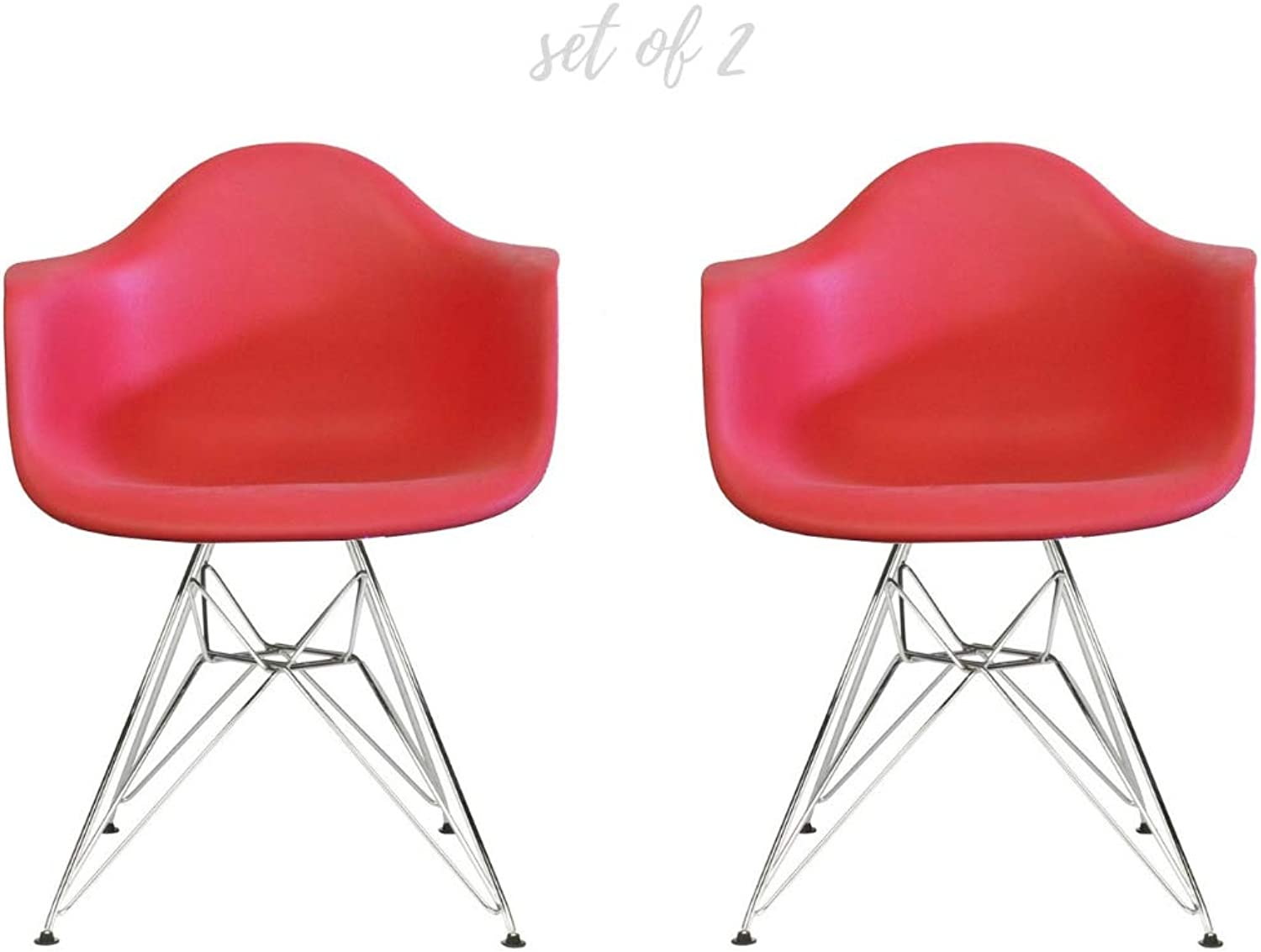 Take Me Home Furniture Eiffel Style Bucket Chair with Chrome Legs, red, Set of 2, Dining Chair