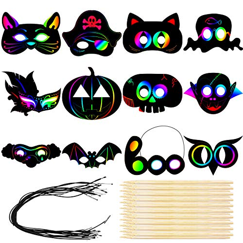 Cooraby 18 Pack Colorful Scratch Art Mask Halloween Pattern Rainbow Paper...
