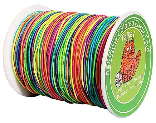 PalKey - Cordón elástico de 1 mm, 100 m, hilo de nailon colorido, cuerda elástica para joyería, collares, pulseras, cuentas, manualidades